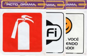 Letraset Pictograma - Placas de sinalização autoadesivas