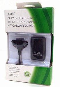 Kit C/ Bateria E Carregador P/ Controle Xbox 360 Play Charge