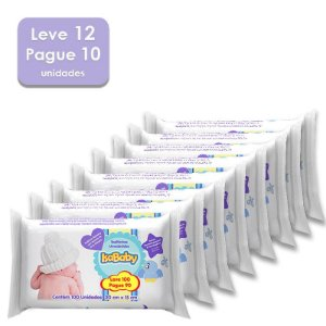 Kit Toalhas Umedecidas IsaBaby Leve 100 Pague 90 Unidades - Leve 12 embalagens e Pague 10 - 1.200 Toalhas