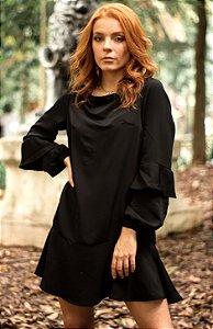 Vestido Babados - Preto