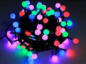 Varal Luzes Colorido Iluminação Pisca/fixo 100 Bolinhas