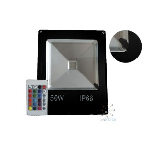 Refletor Led Holofote 50w Rgb Colorido Prova D'água Controle