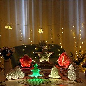 Luminária Led Painel Espelho 3D Infinito Coração, Nuvem, Flor, Abacaxi , estrela e pinheiro