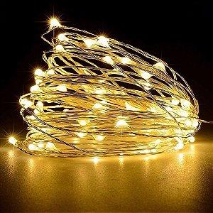 Fio com luz de fada 30 LED branco quente 3 metros + BATERIA