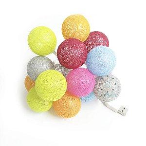 Cordão Led Bolinha colorido Cotton Ball Decoração Festa Branco Quente