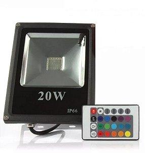 Refletor Led Holofote SMD 20w Rgb Colorido Prova D'água Controle