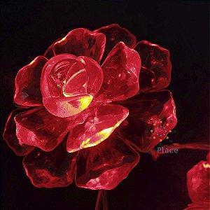Cordão Pisca Rosas vermelho cristais luminosas 110V