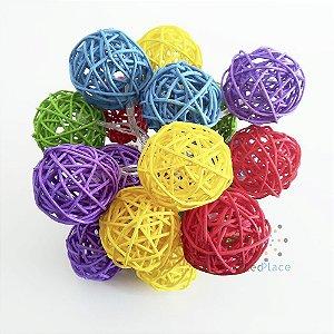 Cordão Led 20 Bolinha Rattan vime Colorido PIlha ou USB