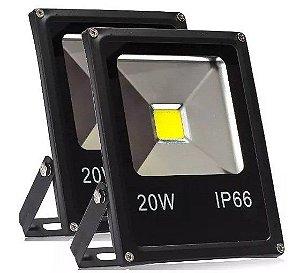 Kit 2 Refletor Led 20W Holofote COB