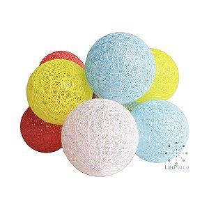 Cordão Led 10 Bolinha colorido Cotton Ball Decoração Festa Branco Quente