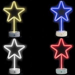 Luminária Figura Neon Estrela Pilhas