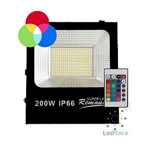 Refletor Led Holofote SMD 200w Rgb Colorido Prova D'água Controle