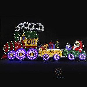 Enfeite Natal Luminoso Papai Noel no trem Painel led Natal