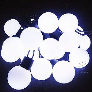 Cordão Fio De Luz Luminária 20 Bolas Branco Frio Luz Fixa 110V Fio verde