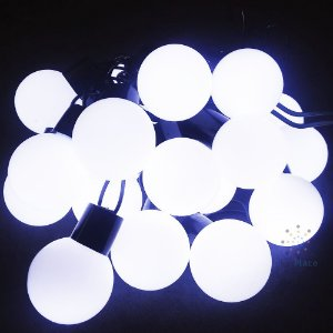 Cordão Fio De Luz Luminária 20 Bolas Branco Frio Luz Fixa 220V Fio verde