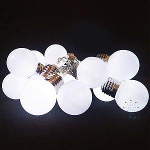 Cordão 20 Lâmpadas bola Branca Usb Ou Pilha Branco Frio Fixo
