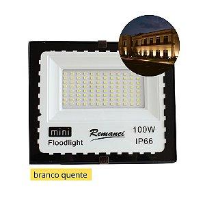 Refletor Holofote Led 100w Branco Quente Mini Prova D'água Bivolt