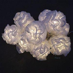 Varal de Luz 10 Bolas Luxo Cotton Ball  Branco quente pom pom festa e casamento