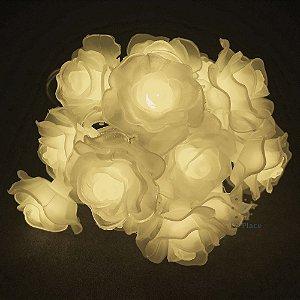 Cordão Rosas Brancas luz branco quente pilha usb
