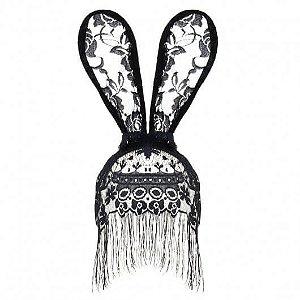 Tiara de orelhas de Coelho - véu e franja