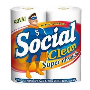 TOALHA PAPEL SOCIAL CLEAN 50F - 2 ROLOS