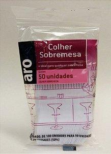 COLHER DESCARTAVEL SOBREMESA ARO (BRANCA) - 50UN