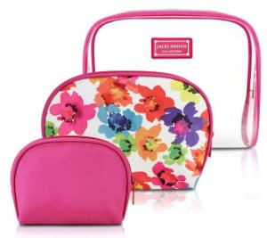 Jacki Design Kit De Necessaire De 3 Peças Cor Pink