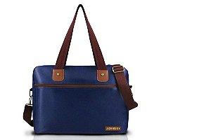 Jacki Design Bolsa para Trabalho Masculina Cor Azul e Marrom