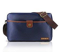 Jacki Design Bolsa Transversal Masculina Cor Azul e Marrom