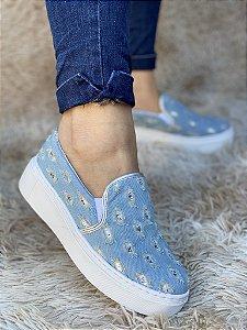 Slip On Jeans Claro Glitter