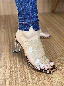 Sandália Salto Cristal Onça Vinil