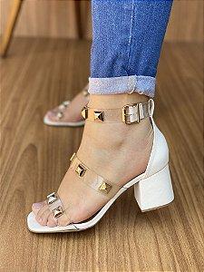 Sandália Salto Bloco Branco Spike Ouro