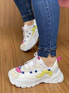 Tênis Sneaker Branco/Pink/Limão S5430