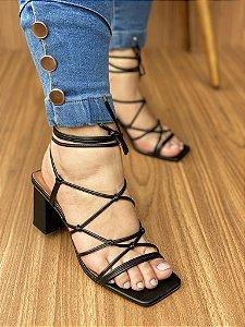 Sandália Salto Bloco Preto Cordas Trançadas