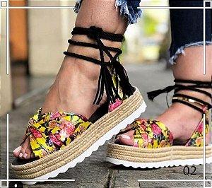 Sandália Flatform Floral Amarelado