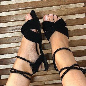 Sandália Preta com Amarração