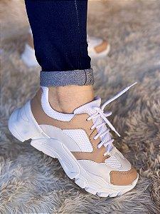 Tênis Sneaker Branco/Nude