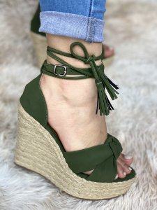 Anabela Verde Amarração/Fivela