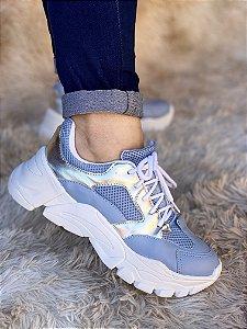 Tênis Sneaker Azul/Prata