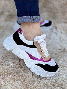 Tênis Sneaker Branco/Pink/Preto
