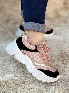 Tênis Sneaker Rosê/Preto/Ouro