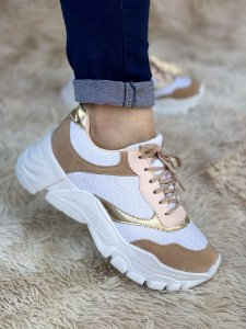 Tênis Sneaker Branco/Bege/Ouro