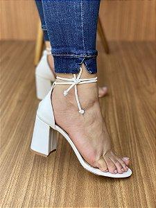 Sandália Salto Bloco Branco