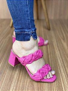 Sandália Salto Bloco Trança Pink