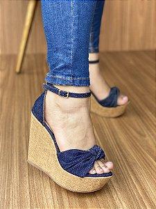 Anabela Jeans Solado Cortiça