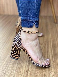 Sandália Salto Bloco Zebra