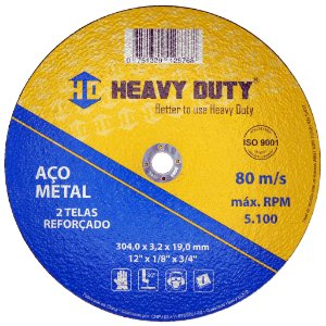 Disco de Corte de Ferro 304 X 3,2 X 25,4 mm - Heavy Duty