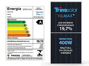 Placa fotovoltaica TALMAX TRINA SOLAR Mono 400w 144cel 9 BUSBAR Half Cell 19,7% eficiência