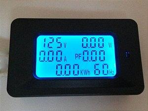 Wattimetro Voltimetro Amperimetro 6 em 1 multifuncional 80-260V 100A TELA LED AZUL