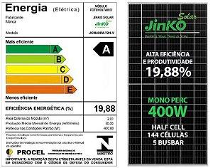 Placa fotovoltaica JINKO JKM400M Mono 400w 144cel 5 BUSBAR Half Cell 19,88% eficiência